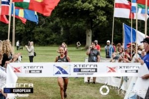 Sponsored athlete, Lesley Paterson crossing the finish line.